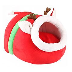 Tinymax Pet Dog Cat Christmas Reindeer Nest Bed Cave House Soft Fluff Warm Cotton Washable Kennels Tumble DryRed * Check this awesome product by going to the link at the image.