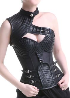 Black Leather Steel Boned Steampunk One Shoulder Corset_Gothic Steampunk Corset_Gothic Steampuck_Sexy Lingeire | Cheap Plus Size Lingerie At Wholesale Price | Feelovely.com