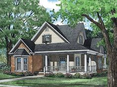 Eplans Country House Plan - A Charming Porch and Perfect for Entertaining - 1927 Square Feet and 3 Bedrooms from Eplans - House Plan Code HWEPL13038