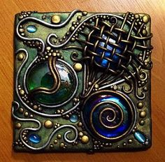 Detail Image for art Polymer clay on clear acrylic tile with iridescent glass gems