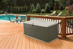 This outdoor storage seat bench is a durable weather-resistant deck box which offers both storage and seating.  This product is made with a tough resin material that will not rot, leak, rust, or dent.