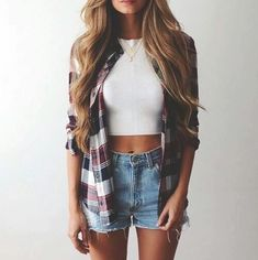 Flannel top with cut offs - super cute outfit