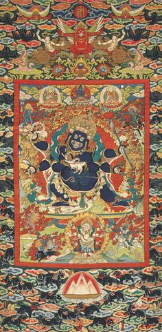 A VERY RARE AND IMPORTANT IMPERIAL KESI SIX-ARM MAHAKALA THANGKA QING DYNASTY, 17TH CENTURY