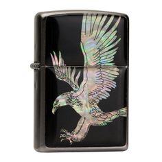 Zippo Mother of Pearl Handmade American Eagle Black Pocket Oil Cigarette Lighter