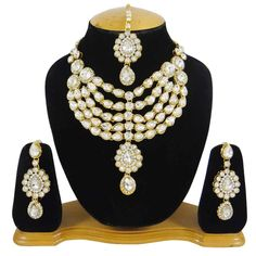 Wedding Party Gold Tone Necklace Set White CZ Stone Traditional Jewelry Indian #iba #NotSpecified