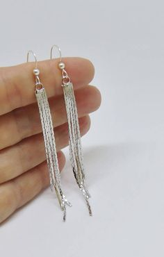 Silver Tassel Earrings | Long Fringe Earrings Handmade Jewelry by MarciaHDesigns