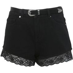 Miss Selfridge Black Lace Belted Short ($61) ❤ liked on Polyvore featuring shorts, bottoms, short, pants, black, denim short shorts, black high waisted shorts, jean shorts, lace shorts and lace jean shorts