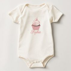 Pretty Pink Cupcake Personnalised Baby Bodysuit - newborn baby gift idea diy cyo personalize family
