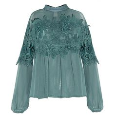 Love Poem Cutwork Lace Chiffon Blouse (52 BAM) ❤ liked on Polyvore featuring tops, blouses, green, lace chiffon top, stretch blouse, blue chiffon top, chiffon top and blue top