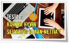 Poikkeustila.fi kuinka hyvin selviät ilman nettiä. Selviytymispakkaus ja tehtäviä lapsille ja nuorille. - Mediataitoviikko 2016 Internet, Social Media, Social Networks, Social Media Tips