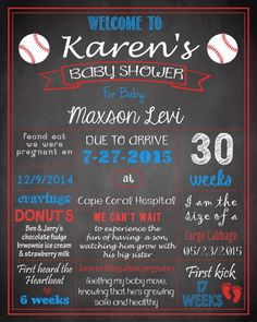 Baseball Baby Shower Pregnancy Chalboard Poster Sign DIGITAL FILE