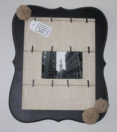 Memo Board  Photo Holder  Distressed Wood Frame  by TheWhimsyBloom, $36.00