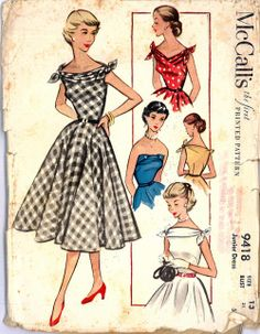 McCalls Dress Pattern No 9418 UNCUT Vintage Size 15 Bust Junior Full Flared Skirt Fitted Bodice Sleeveless Ties at Shoulders 1950s Dress Patterns, Vintage Sewing Patterns, Clothing Patterns, Vintage Outfits, Vintage 1950s Dresses, 60s Dresses, Vintage Clothing, 1950s Fashion, Vintage Fashion