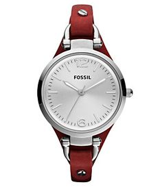 Fossil Ladies Georgia Red Watch -- possibly on my wish list :) Georgia, Stylish Watches, Cool Watches, Jewelry Accessories, Fashion Accessories, Fossil Watches, Women's Watches, Wrist Watches, Watch Sale