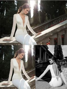 Vestidos De Noiva Sexy Deep V Neck Long Sleeves Mermaid Vintage Wedding Dresses Satin Bridal Weddings & Events Gowns 2014-in Wedding Dresses...