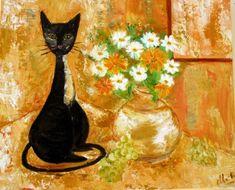 TABLEAU PEINTURE Animaux Peinture a l'huile  - chat noir