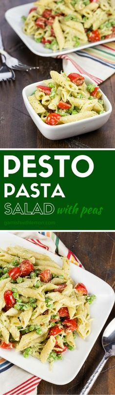 This Pesto Pasta Salad with Peas filled with tomatoes and pine nuts is the perfect side dish to anything that comes off the grill.: