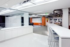 Wonderful White and Orange Office Ideas: White Cool Startup Tech Office Interior Design Ideas Corporate Office Design, Modern Office Design, Workplace Design, Office Interior Design, Office Interiors, Office Designs, Orange Office, Commercial Office Design, Startup Office
