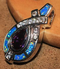 blue fire opal Amethyst Cz necklace pendant Gemstone silver jewelry chic Y7