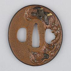 Sword Guard (Tsuba) Date: ca. 1615–1868 Culture: Japanese Medium: Copper, gold, copper-gold alloy (shakudō) Dimensions: H. 2 3/4 in. (7 cm); W. 2 1/2 in. (6.4 cm); thickness 1/4 in. (0.6 cm); Wt. 4.6 oz. (130.4 g) Classification: Sword Furniture-Tsuba