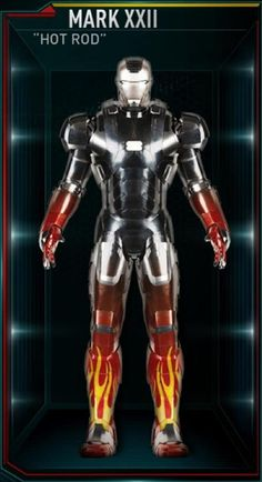 The Hot Rod was the twenty-second Iron Man suit created by Tony Stark, and one of the many armors he developed after the battle for New York against Loki and the Chitauri. The attack had left him with the feeling that the world couldn't be safe for long, and that he needed to build more suits until the next time Earth was in danger. The Hot Rod suit was among those summoned by Stark to battle Extremis-enhanced soldiers assisting Aldrich Killian's plot. It was controlled at the time by...