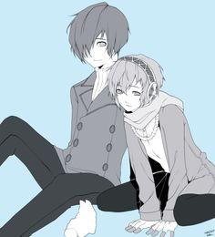 "neruhasphalt:"" You spend a long time with Aigis… "" ♥Makoto Yuki / Minato Arisato spend the Valentine Day with Aigis de Arimasu."