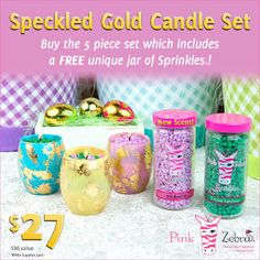 Sprinkle My Candles- Pink Zebra Independent Consultant: SPECKLED GOLD CANDLE SET W/FREE SPRINKLES SPECIAL