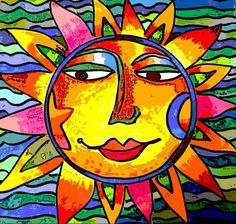This is such a pretty and happy painted sun face! I love it! Look at all the bright colors.