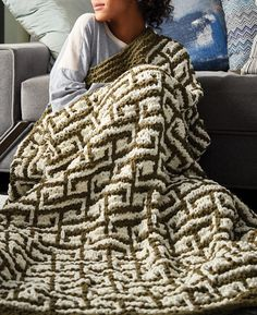 Free Knitting Pattern for Let It Slip Blanket - Greek key inspired design knit in easy mosaic slip stitch colorwork. Quick knit in super bulky yarn. Designed by Bernat