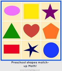 Make a shape match-up game for your toddler or preschooler! Free printable to save you time, too. {Mummyology}  #preschool #math #shapes #game