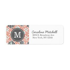 Gray & Coral Retro Floral Damask Custom Monogram Custom Return Address Label we are given they also recommend where is the best to buyDiscount Dealstoday easy to Shops & Purchase Online - transferred directly secure and trusted checkout. Personalized Labels, Personalized Stationery, Customized Gifts, Grey And Coral, Pink And Green, Gray, Custom Return Address Labels, Custom Labels, Retro Floral