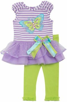 Rare Editions Baby Girl Butterfly Applique Stripe Tutu Legging Set PU0BA, Purple/Multicolor Rare Editions