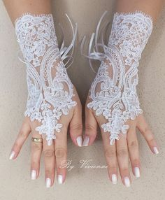 FREE SHIP White Wedding gloves french lace gloves by ByVIVIENN