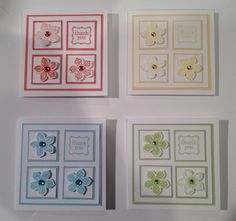 "Stampin' Up Petite Petals mini's. Final size 3 1/4"" x 3 1/4"". Start with 4x1"". Put onto colored 1 1/8 "" panels. White 2 3/4"". Colored 2 7/8"". Card base white 3 1/4""."