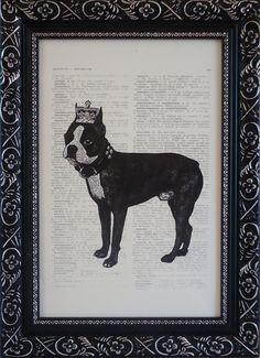 Art Boston terrier print on an vintage french dictionary print boston terrier art print  via Etsy
