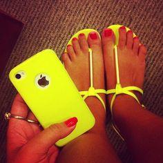 neon yellow phone case & sandals:-)