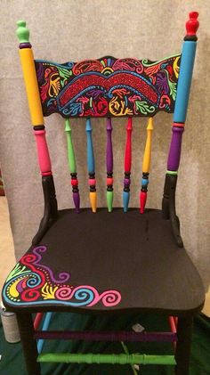 A birthday chair for the class? - A birthday chair for the class? …, chair You are in the right place - Hand Painted Chairs, Funky Painted Furniture, Paint Furniture, Repurposed Furniture, Furniture Makeover, Cool Furniture, Furniture Design, Painted Rocking Chairs, Furniture Stores