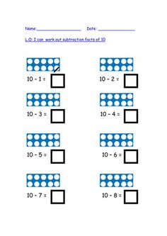take away facts of 10 with Numicon pictures. Math Subtraction, Subtraction Activities, Maths Eyfs, Math Classroom, Teaching Math, Teaching Resources, Numicon Activities, Year 1 Maths, Math Groups