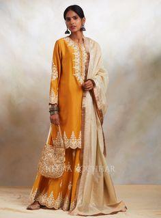 Indian Clothes, Indian Outfits, Anarkali, Kimono Top, Sari, Embroidery, Yellow, Tops, Women