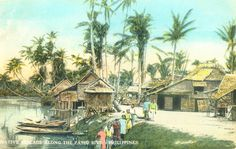 Colorized Postcard: A view along the Pasig River of a local village outside Manila. The Republic, Manila, Homeland, Philippines, River, Island, History, Book, Ideas