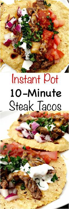 Quick and easy Instant Pot pressure cooker steak tacos (carne asada) are a healthy and skinny meal loaded with salsa, cilantro, and juicy steak. This recipe can also be used for beef fajitas. Pressure Cooker Steak, Instant Pot Pressure Cooker, Pressure Cooker Recipes, Pressure Cooking, Instant Cooker, Mexican Food Recipes, Crockpot Recipes, Dinner Recipes, Cooking Recipes