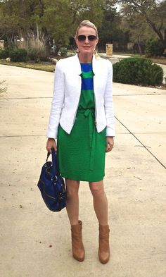 What To Wear With Green (Dress) cobalt blue bag green dress camel ankle boots nude ankle boots white blazer white jacket what to wear with white blazer