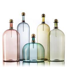 Hand-blown glass bottles, vessels and pitchers - Vetro Vero: colorful handblown glass http://www.vetrovero.com/store/p36/Smoky_Elegante_Bottles.html