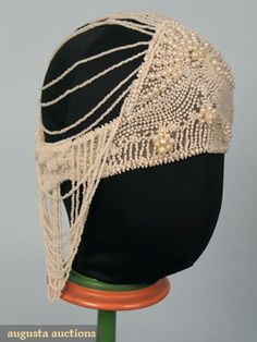 ~Pearl and netting 1920s crown cap~