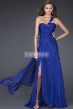 Empire Split Flowers Beaded A-line Chiffon Draping Sleeveless Long Backless One Shoulder Prom Dress