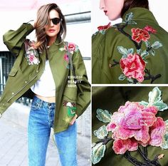 Embroidered Patch Military Parka Womens Jacket Studded Drawstring Coat Oversized