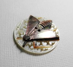 ButtonArtMuseum.com - Antique Carved Pierced MOP Mother of Pearl Bee Fly Insect Button