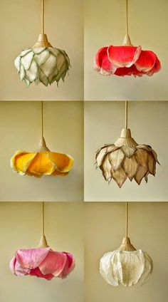 Flower pendant lamps by lighting artist Sachie Muramatsu. The lanterns use layers of traditional Japanese paper ('washi') made from naturally grown mulberry trees, arranged and dyed to mimic enormous hanging flowers. #bohemian #rose