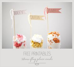 Free Printables   Straw Flag Place Cards