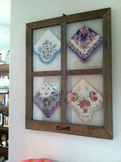 Vintage hankerchiefs displayed in old windows Vintage Windows, Old Windows, Vintage Crafts, Vintage Decor, Vintage Linen, Handkerchief Crafts, Diy And Crafts, Arts And Crafts, Embroidery Designs